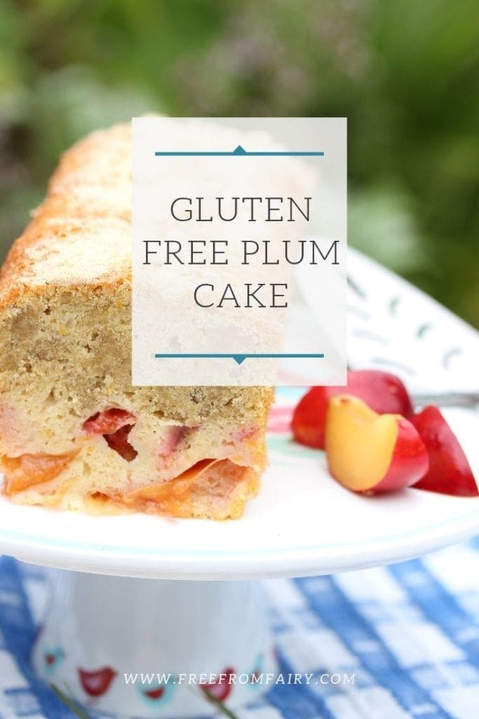 Gluten free plum cake made with Free From Fairy wholegrain gluten free flour. A simple and delicious recipe. #glutenfreeplumcake #glutenfreecake #glutenfreedairyfreecake #glutenfreedairyfreeplumcake #plumrecipe