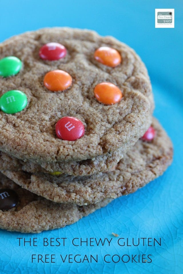 Get the recipe for the best chewy gluten free cookie that happens to be vegan too. #glutenfree #dairyfree #vegancookie #glutenfreecookie