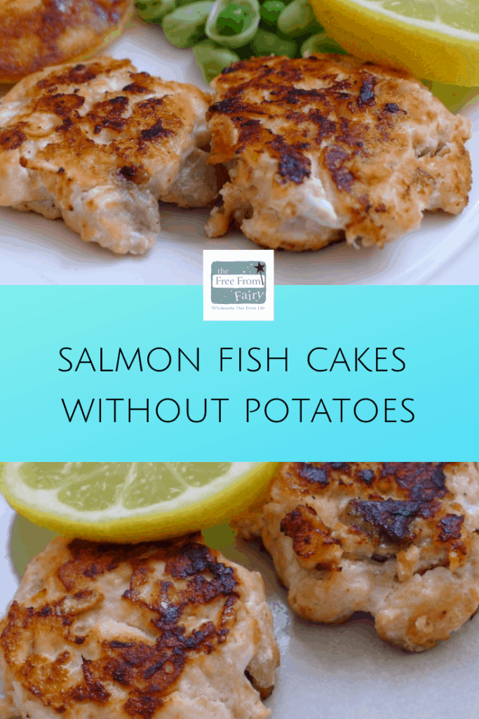 Salmon fish cakes without potatoes. A delicious gluten free, dairy free, egg free meal for the whole family. #glutenfree #lowcarb #salmonfishcakes #lowcarbsalmonfishcakes