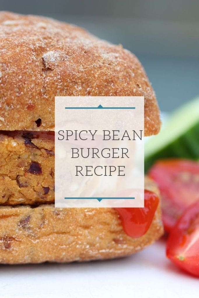 An easy gluten free main meal; spicy bean burger served in a gluten free bun. #glutenfreemeal #glutenfreeburger #glutenfreeveggieburger #glutenfreebeanburger