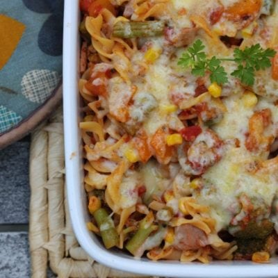 Healthy Tuna Pasta Bake (Gluten Free, Dairy Free)