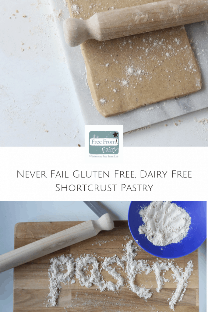 Never fail gluten free (can be dairy free too) shortcrust pastry. Everyone always tells me how hard it is to make pastry and the bought stuff is always hard and tasteless. Well, you'll never buy pastry again once you've tried my recipe. It never fails and there is a video showing you how to make it too. #glutenfree #dairyfree #glutenfreepastry #pastryrecipeglutenfree #glutenfreepie #freefromfairy