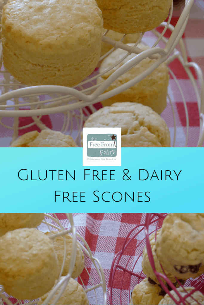 Make delicious gluten free dairy free scones with this recipe from the Free From Fairy. #glutenfreescone #glutenfree #dairyfreescone #dairyfree #freefromfairy