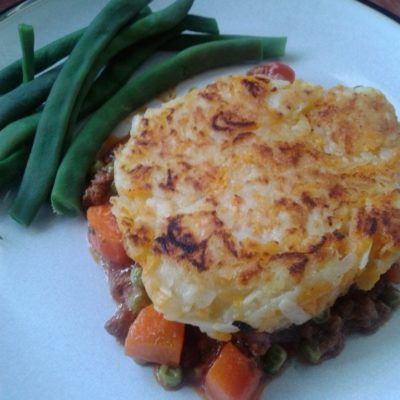 Cottage pies with rosti tops
