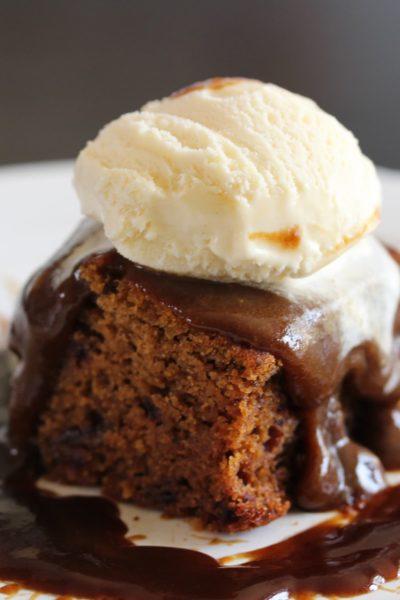 A perfect sticky toffee pudding with ice cream on top. #glutenfree #dairyfree #stickytoffeepudding #stickytoffeedesert #freefromfairy