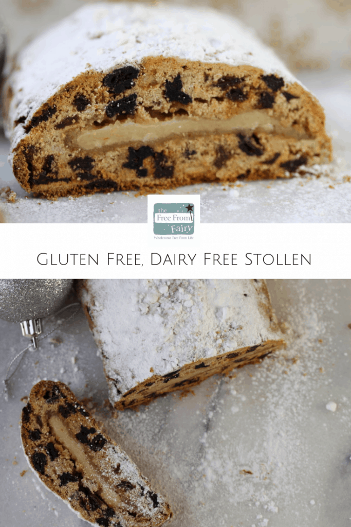 This easy to make stollen is both gluten free and dairy free. Nobody needs to miss out at Christmas! #glutenfree #dairyfree #freefromfairy #stollen #Christmasrecipe #glutenfreerecipes