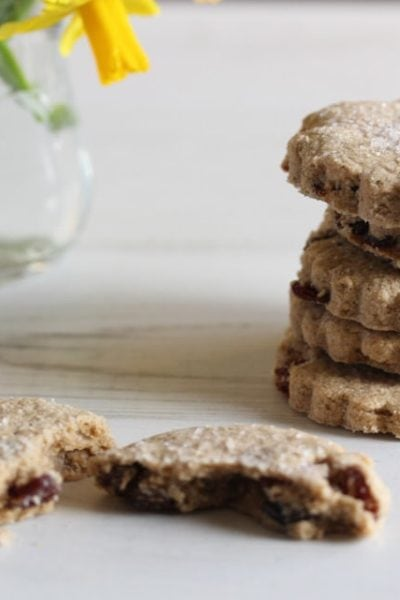 Gluten free fruit biscuits in a stack #glutenfree #easterbiscuits