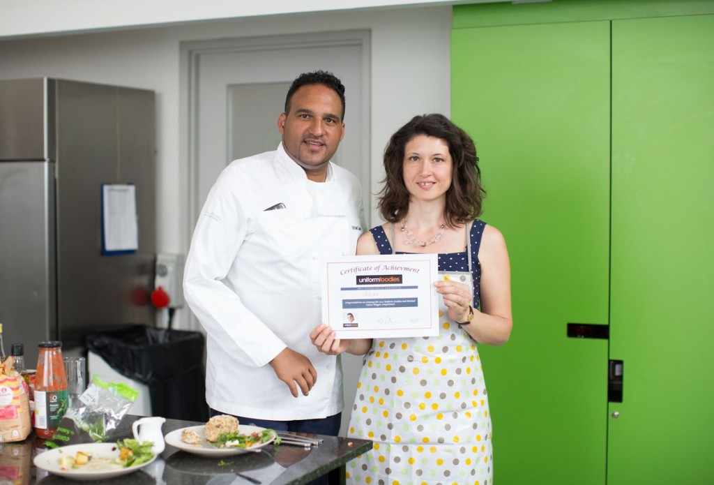 The deserving winner from My Little Italian Kitchen collecting her certificate!