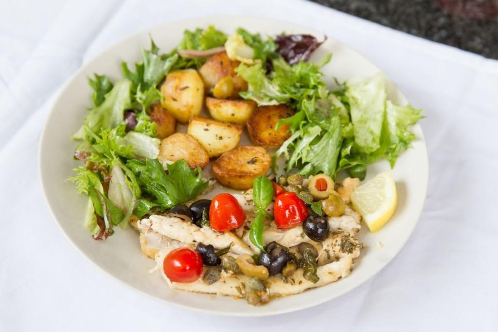 My Little Italian Kitchen's Mediterranean Lemon Chicken Salad with Rosemary New Potatoes