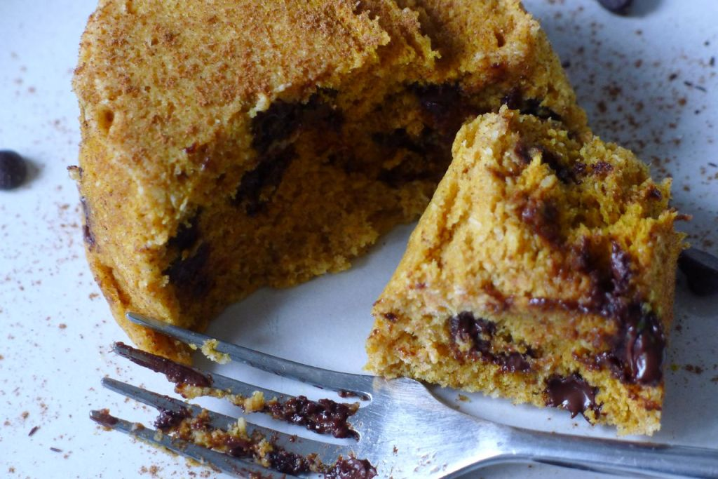 healthy chocolate chip cake cut open