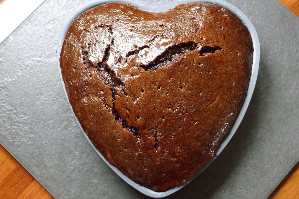 Undecorated heart shape cake