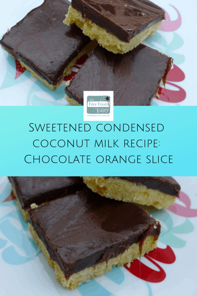 Find out how to make sweetened condensed coconut milk and a recipe for chocolate orange slice. #glutenfree #dairyfree #vegan #condensedmilk #dairyfreecondensedmilk