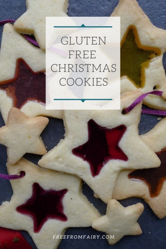 Gluten free Christmas cookies. These simple stained glass cookies are perfect as gifts and also look beautiful on the Christmas tree. #freefromfairy #glutenfreechristmas #glutenfreechristmascookies