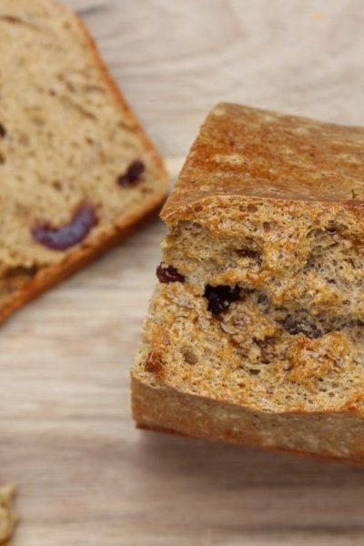 A gluten free fruit loaf from the top