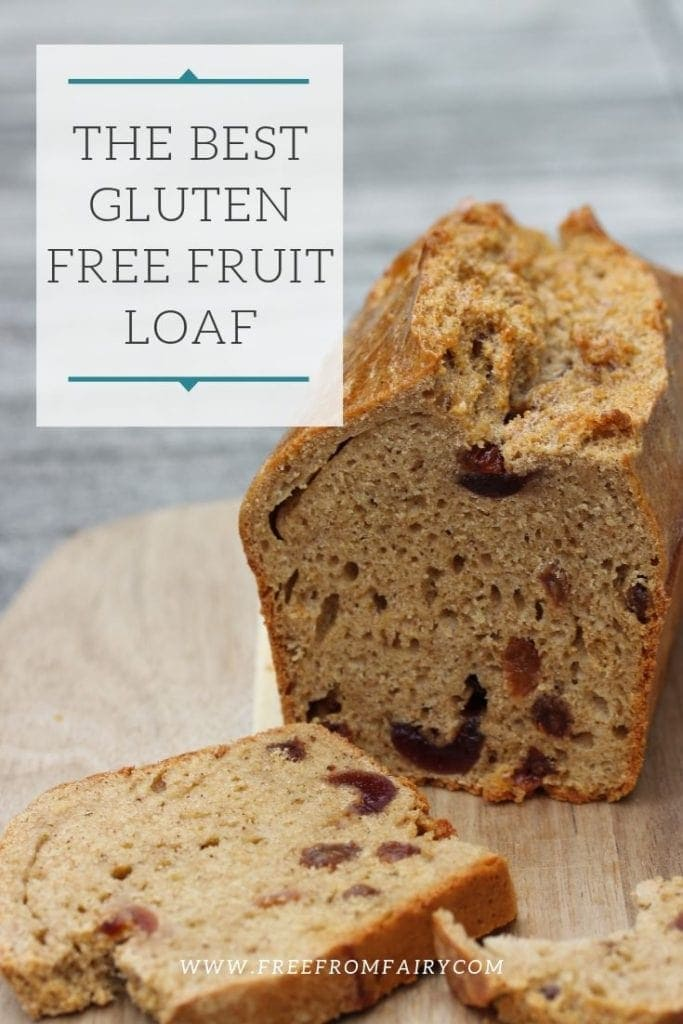 The best gluten free fruit loaf (bread) recipe you'll ever find. So easy to make, moist and lightly sweetened with unrefined sugar. #glutenfree #glutenfreefruitcake #glutenfreefruitloaf #glutenfreebread #kefir #milkkefir #sourdough #glutenfreesourdough #easysourdough #freefromfairy
