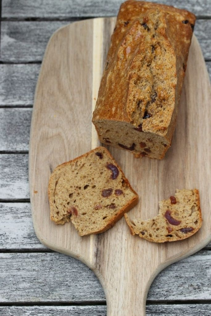 Gluten free fruit loaf from above