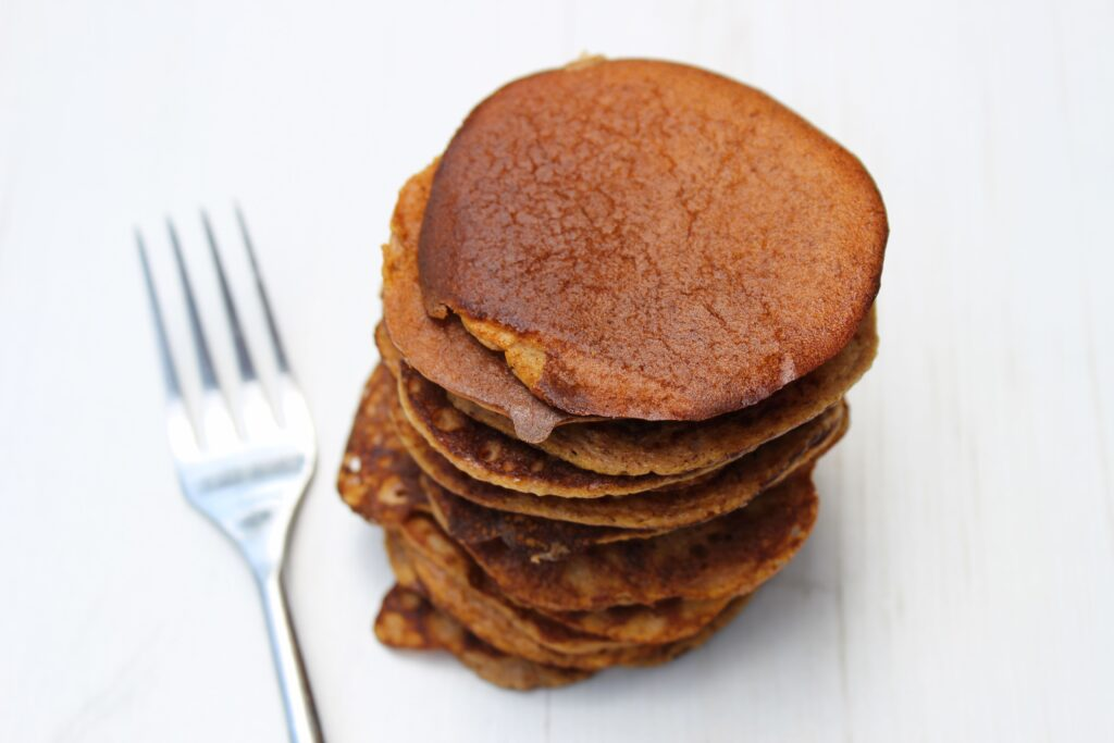 a stack of pancakes made with butternut squash