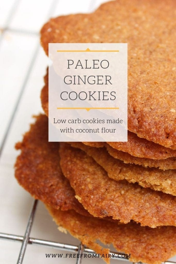 Simple paleo ginger cookies made with coconut flour. These grain free, gluten free, refined sugar free cookies are very simple to make. #freefromfairy #lowcarbcookie #glutenfreecookie #paleocookie #gingercookie #gingerbiscuit #coconutflourcookie