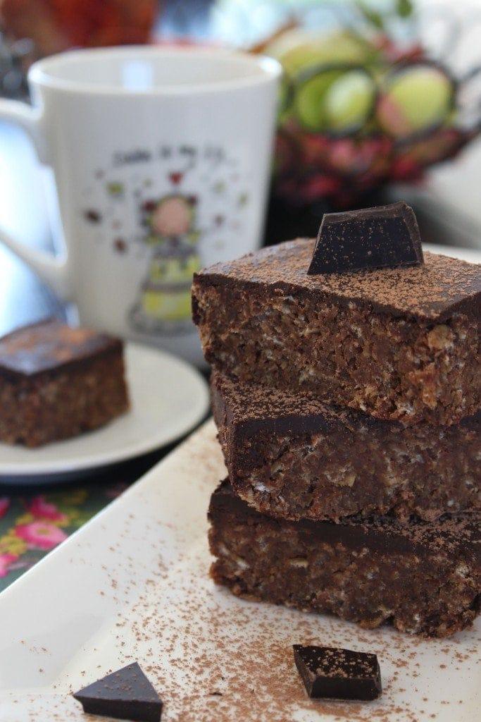 Chewy chocolate flapjacks. Simple refined sugar free recipe.