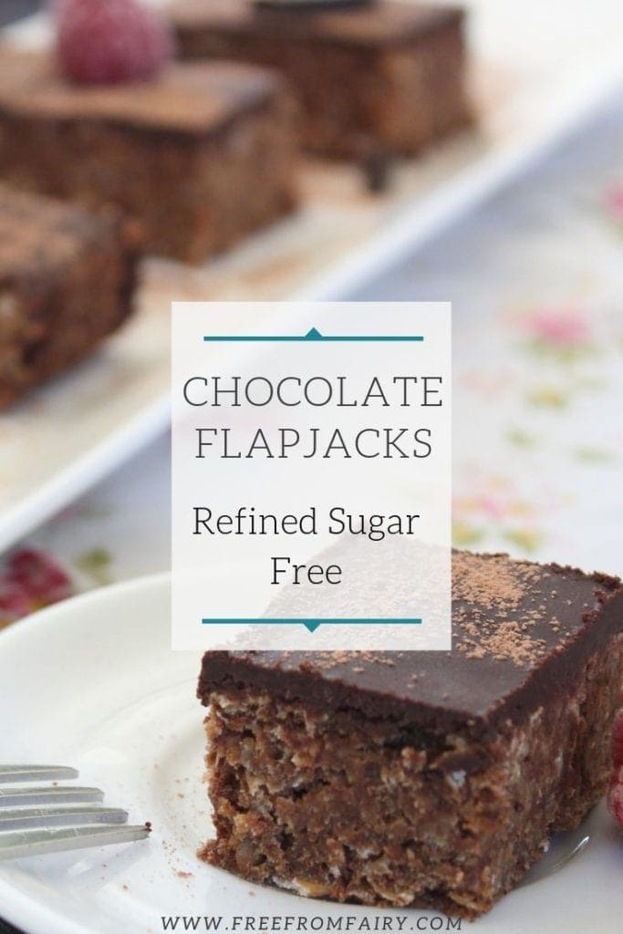 Chocolate flapjacks. A simple, delicious recipe that contains no refined sugar. #healthyflapjacks #chocolateflapjacks #veganflapjacks #glutenfreeflapjacks #chewyflapjacks