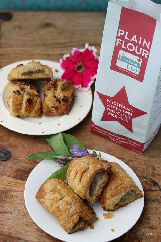 Sausage roll and Danish pastries made with the Free From Fairy rice free wholegrain gluten free flour blend