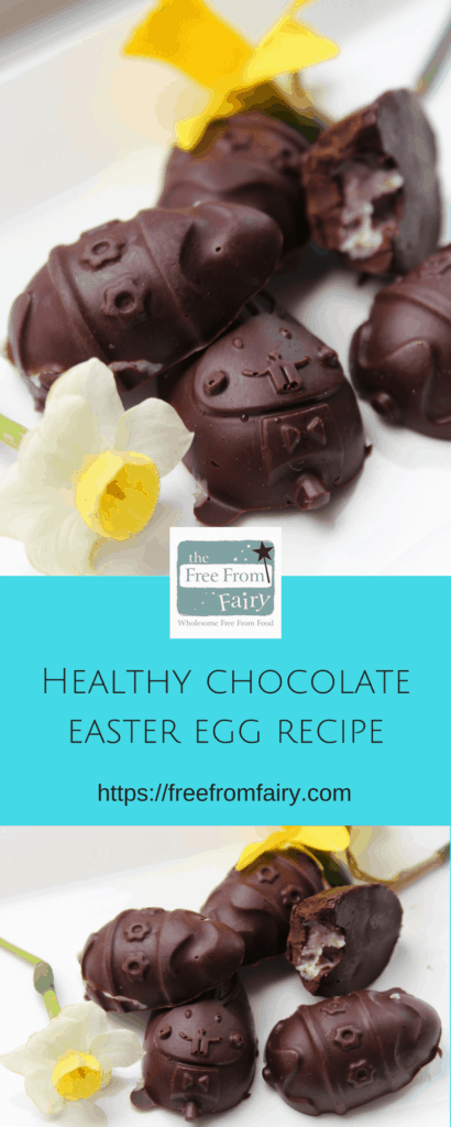 Make this healthy chocolate into healthy Easter treats: #dairyfree and #sugarfree chocolate eggs filled with strawberry fondant. Perfect for anyone on a medical restricted diet or who is #vegan. freefromfairy.com