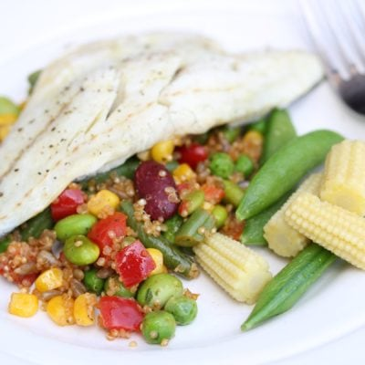 Zesty Bean Quinoa & Poached Sea Bass – A Five Minute Meal