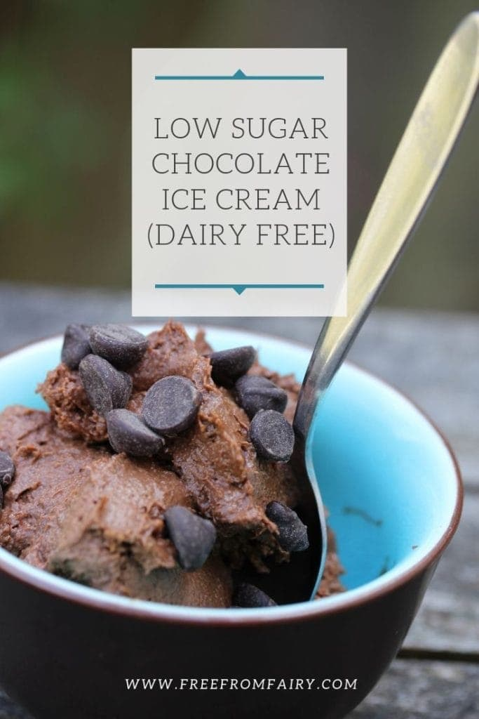 Low sugar ice cream! This recipe is a simple no churn ice cream. It's dairy free, egg free and suitable for vegans. It's so easy to make and is a source of protein too. #chocolateicecreamrecipe #nochurnicecream #lowsugaricecream #lowcarbicecream #dairyfreeicecream #dairyfreechocolateicecream