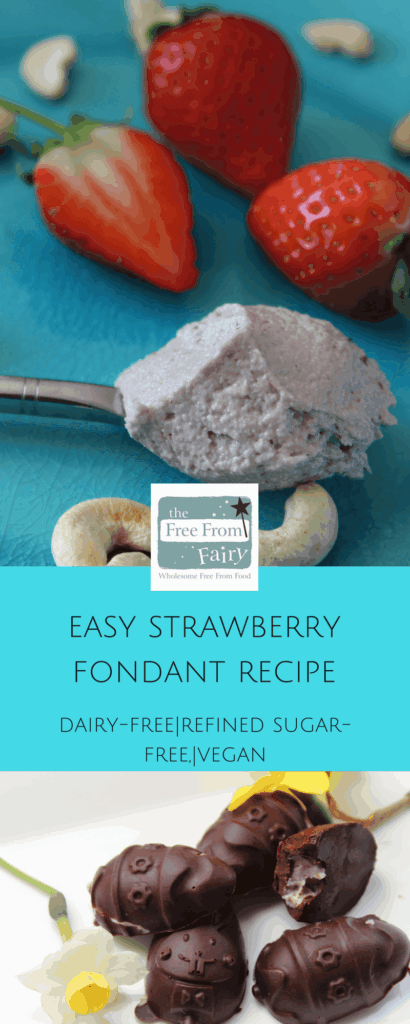 Easy strawberry cashew cream (fondant) recipe. It's delicious filled in homemade healthy chocolate for healthy Easter treats. #glutenfree #dairyfree #eggfree #soyafree #refinedsugarfree. https://freefromfairy.com