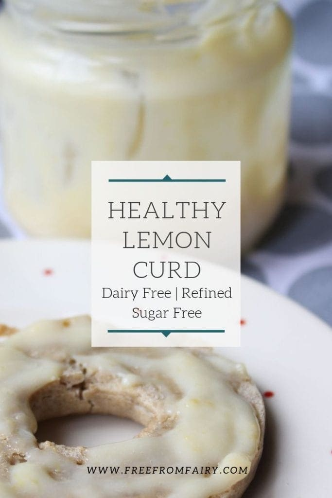 Healthy lemon curd is made with coconut oil and rice syrup (or other refined sugar free sweetener). #sugarfreelemoncurd #dairyfreelemoncurd #glutenfreelemoncurd #lemoncurdrecipe
