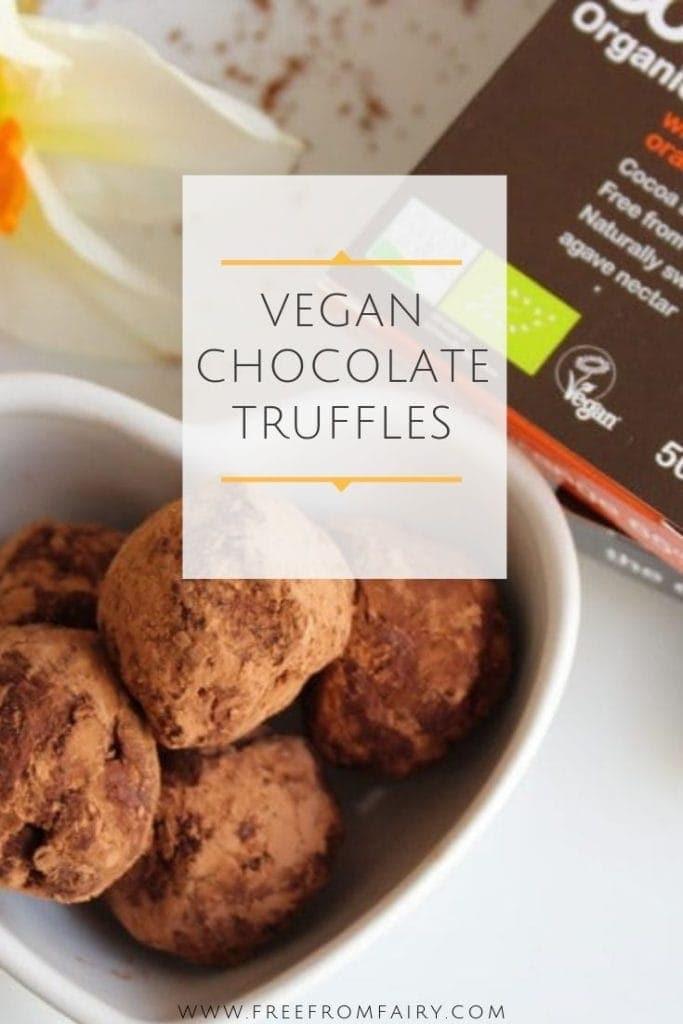 Vegan chocolate truffles; a simple recipe using dark chocolate and coconut cream. #freefromfairy #veganrecipe #veganchocolate #dairyfreechocolate #veganchocolatetruffles