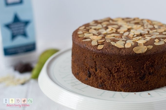 Incredible almond pear and chocolate gluten-free cake recipe using Free From Fairy wholegrain flour