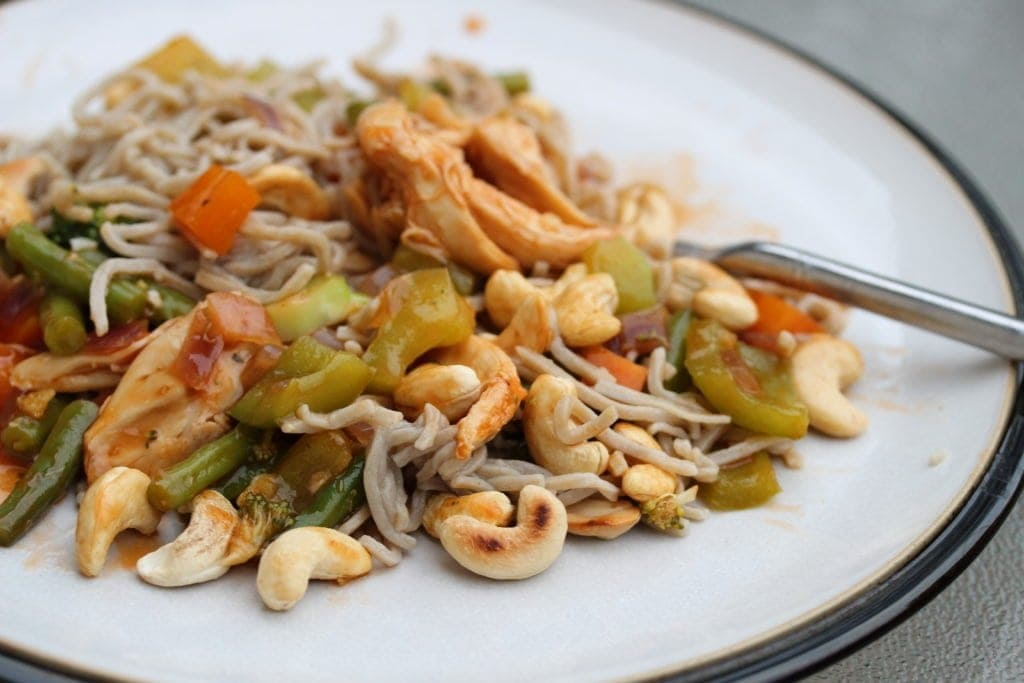 Gluten free pasta noodle with stir fry