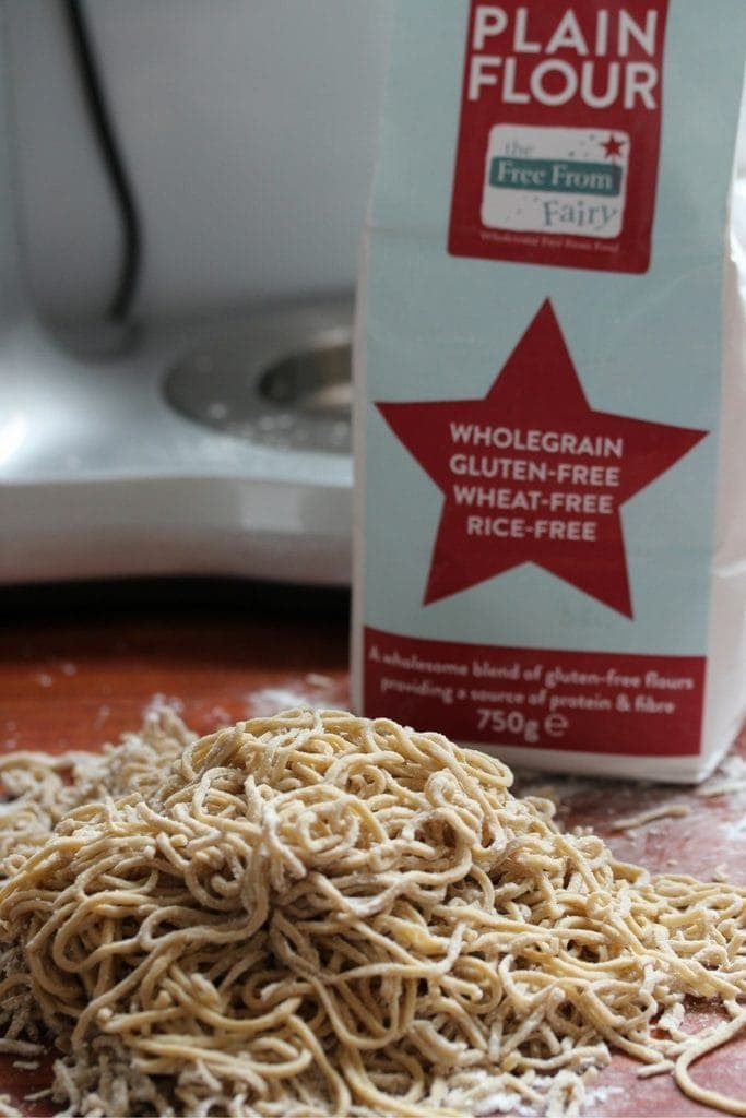 Gluten free spaghetti made with the free from fairy gluten free flour blend