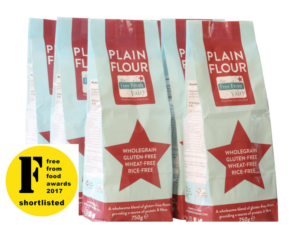 Buy six packs of wholegrain gluten and rice free flour blend at www.freefromfairy.com