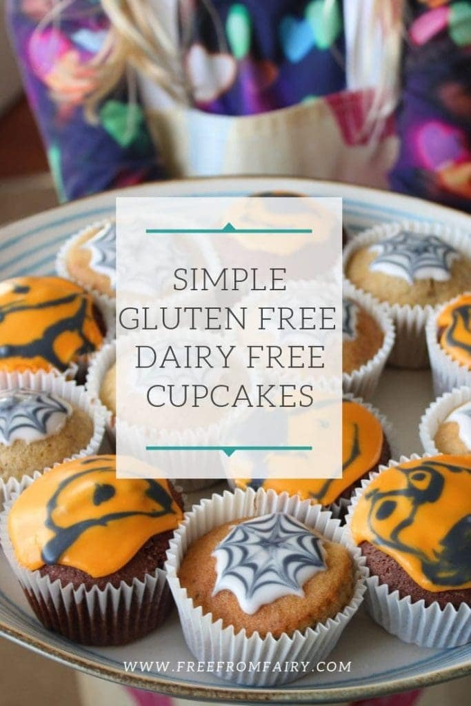 Simple and easy to make gluten free dairy free cupcakes. You can flavour these any way you like. Makes the perfect base recipe for light, fluffy, moist gluten free cupcakes. #freefromfairy #glutenfreecupcakes #dairyfreecupcakes #gfdfcupcakes #glutenfreecake #glutenfreekidscake