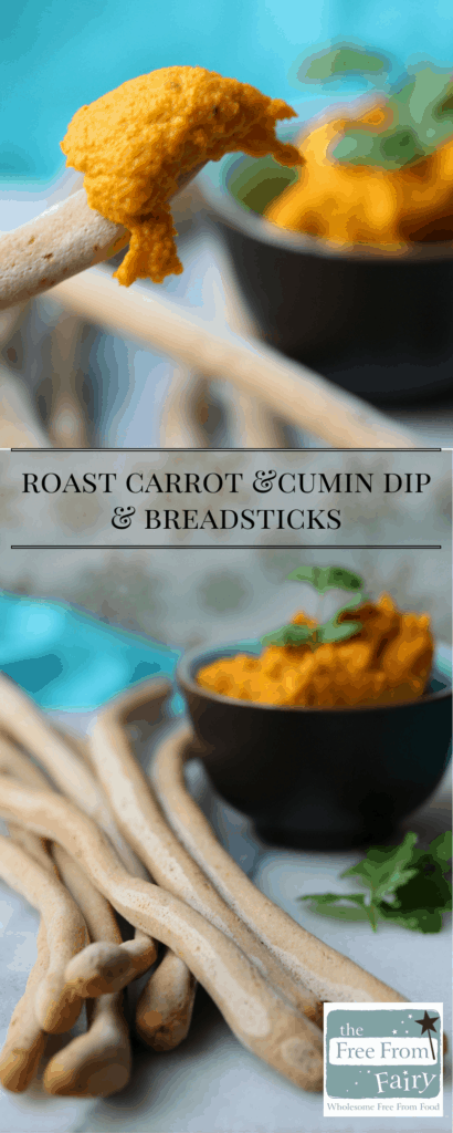 Simple tasty carrot and cumin dip with breadsticks...a recipe free from the top 14 allergens. Gluten-free, Dairy-free, Egg-free, Nut-free, Soya-free, Sugar-free, Low FODMAP