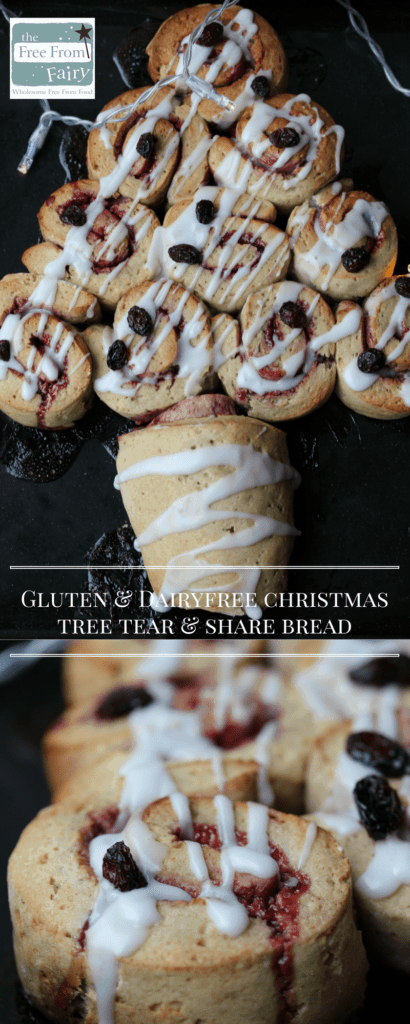 Simple gluten-free, dairy-free Christmas tree tear and share bread recipe using the Free From Fairy wholegrain plain flour blend