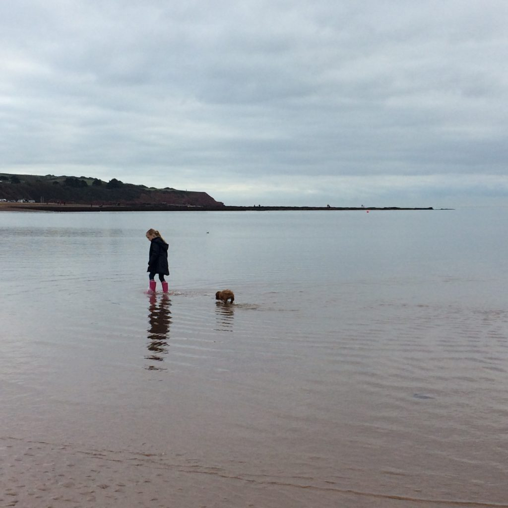 Devon beach with daughter and dog