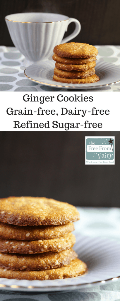 Simple fiery ginger cookies that are gluten free, dairy free, egg free, soyafree, refined sugar free, paleo and suitable for those on the GAPS or SCD diet.