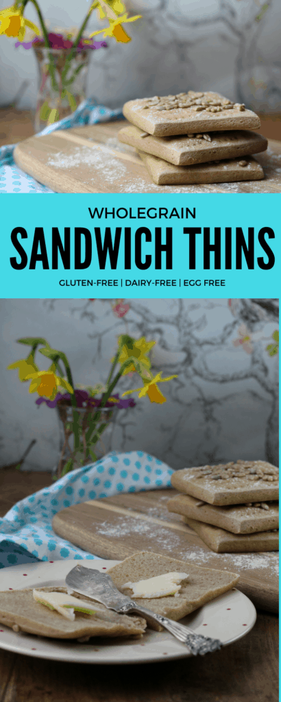 Simple recipe for gluten free, dairy-free, egg-free sandwich thins made with wholegrain gluten and rice free flour from the Free From Fairy