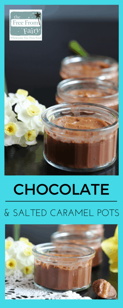 Simple vegan salted caramel & chocolate pots. These are #glutenfree, #dairyfree, #eggfree, #nutfree, #vegan and #lowsugar.