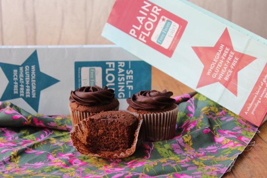 Chocolate cupcakes made with the Free From Fairy wholegrain gluten free flour