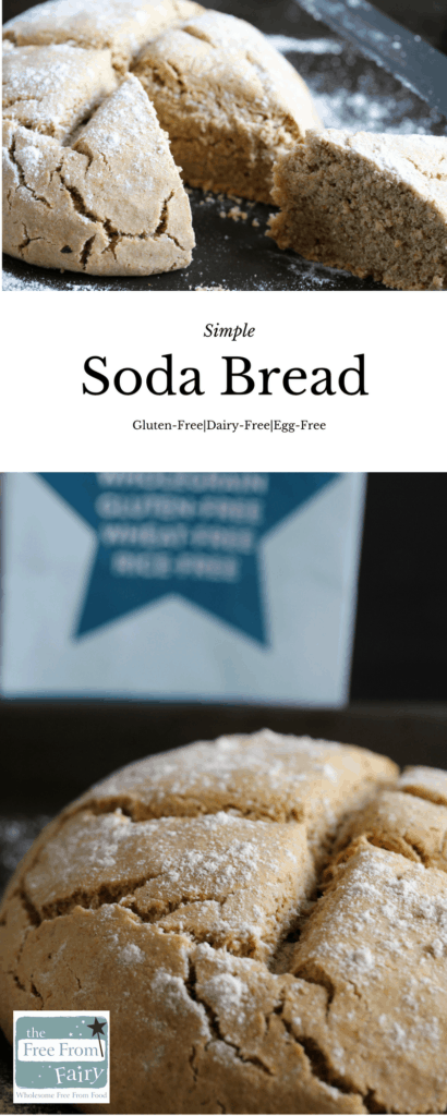 Simple wholegrain soda bread made using the Free From Fairy self-raising flour, a great alternative to wheat flour. This recipe is gluten-free, wheat-free, dairy-free and egg-free.