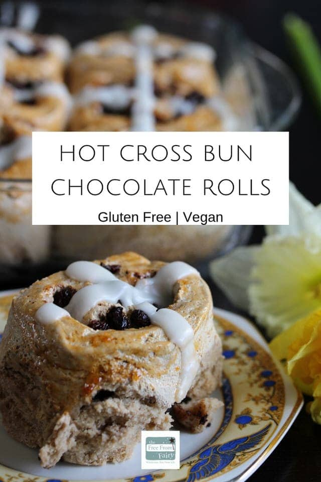 Make these gluten free vegan hot cross bun chocolate rolls and never look back. The whole family will love them. They are #glutenfree #dairyfree #eggfree. #hotcrossbuns #glutenfreehotcrossbuns #easterrecipes #veganeaster