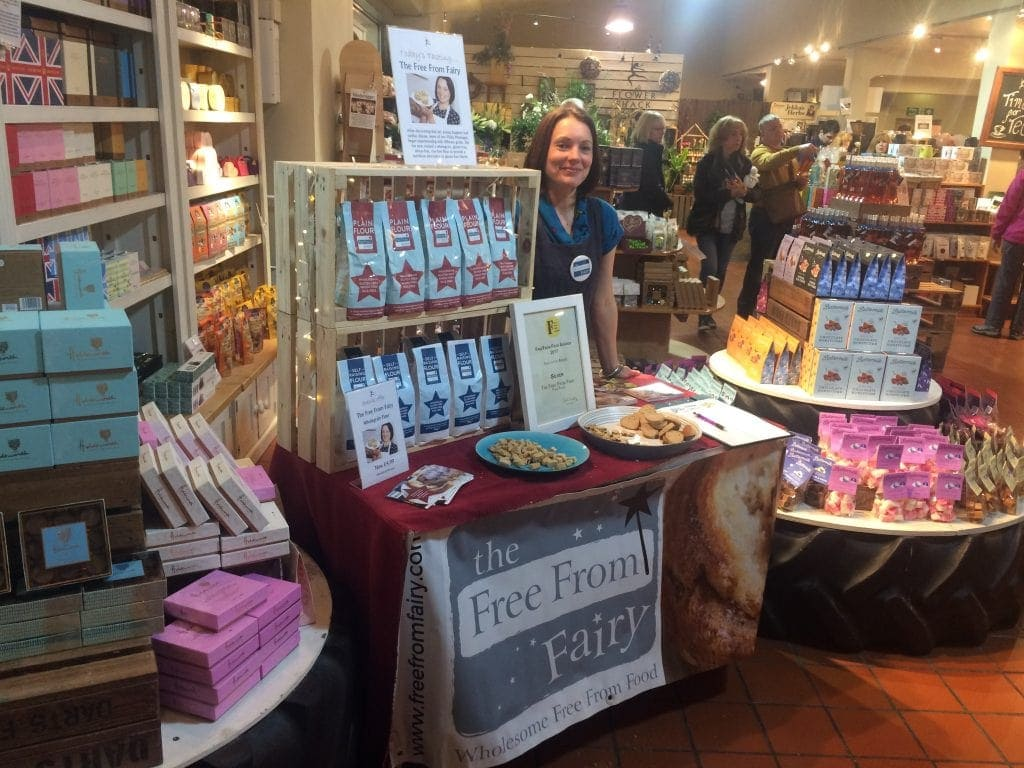 Selling my wholegrain gluten and rice free flour at Darts Farm, Devon
