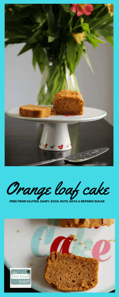 Simple orange loaf cake that is gluten-free, dairy-free, egg-free, nut-free, soya-free and refined sugar free. It is made with the Free From Fairy's wholegrain self raising flour blend for a perfect rise.