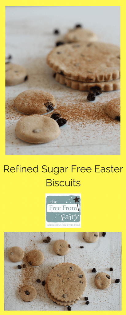 Easy to make Easter biscuits that are gluten-free, dairy-free, egg-free, nut-free, soya-free and refined sugar-free for Easter. Made with wholegrain flour by the Free From Fairy