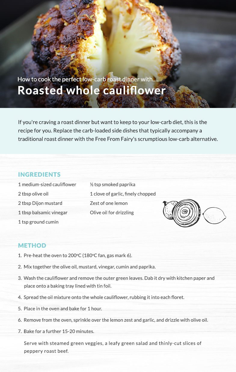 Whole roast cauliflower, the perfect swap for roast potatoes for a low carb roast dinner