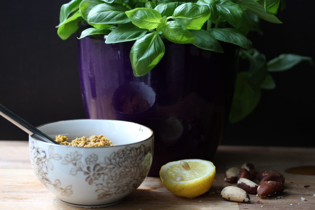 Dairy-free pesto made with sun-dried tomatoes and brazil nuts from The Free From Fairy